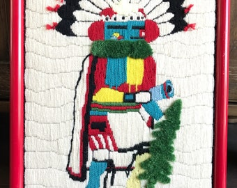 Vintage Embroidered Portrait of Talavai | Sonora Desert Design | Morning Singer Kachina