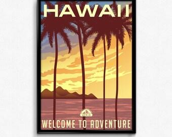 Hawaii travel canvas art print poster