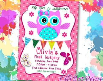 Owl invitation, Owl birthday invitation, Owl invite, Owl birthday party, Digital file 8