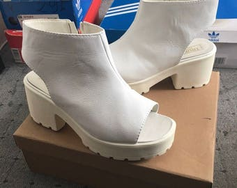 White Cut Out Truffle Heeled Boots