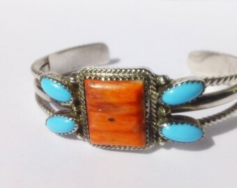 Vintage Signed Raymond Delgarito R.B. Shop NAVAJO Native American Turquoise Coral Sterling Silver Cuff Bracelet