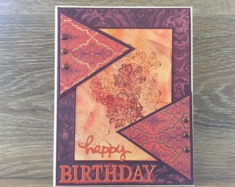 Elegant Happy Birthday Card, Layered Matting, Brad Embellishments, Stamped Fall Motif, Fall Colors