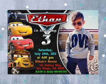Cars 3 Invitation, Cars 3 Birthday Invitation, Disney Cars Invitation, Cars 3 Party, Lightning McQueen Invitation, Personalized JPEG