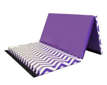 "Folding Gymnastics Chevron Zig Zag 4' x 6' x 2"" Intermediate Level Tumbling Mat Purple and White"
