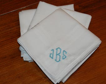 Monogrammed Handkerchief, Father's Day Gift, Personalized Gift for Dad, Gift for Men(3 Included in the Purchase)