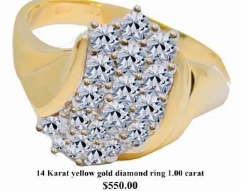 14 Karat yellow gold diamond ring 1.00 carat