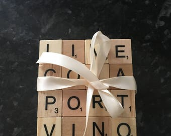 Set of 4 scrabble coasters  - ideal for Father's Day present
