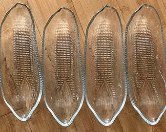 6 Vintage Pressed Glass Corn on the Cob Dishes--No Cheap Imitation--Set of 6, heavy duty, excellent condition-A summer must for corn lovers