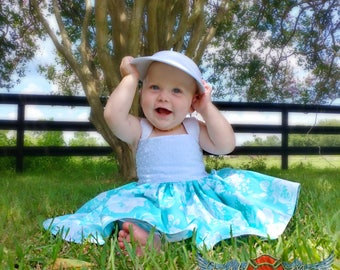 White and Teal Girls Summer Dress, rose dress, baby dress, toddler dress, little girls dress, dress with straps, flower dress, tea party