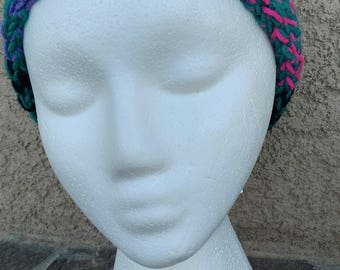 Emerald and Neon Adult and Kids Loom Knitted Headbands