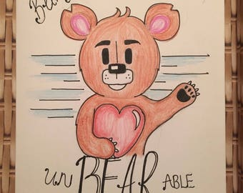 Being without you is unBEARable, a5 valentine/couple/friendship card