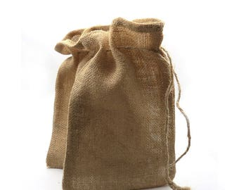 6.25 x 10 inch Burlap Gift Bags. Drawstring. Gift Bags. Shabby Chic. Jute Bags