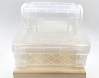 Mini Clear Storage Bins. Storage. Container. Stackable Container. Plastic Box