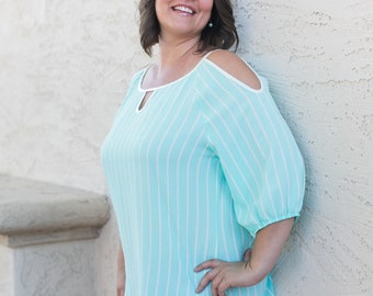 Mint cold shoulder Tunic