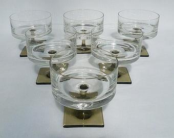 Rosenthal Linear-Smoke Crystal Champagne/Tall Sherbets -  Set of Six