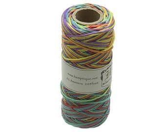 Hemp Cord Spool Variegated 20# 205 Feet/Pkg-Rainbow