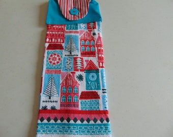 CHRISTMAS HANGING KITCHEN towel blue & red houses (1 Set of 2)