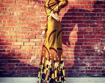 1970's Geometric Mermaid Maxi Dress