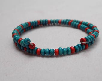 Green and Red Wooden Bead Bracelet