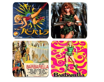 Barbarella Movie Poster Coasters Set Of 4. High Quality Cork Backed Drinks Coaster Set. Sixties Classic Vintage Sci-Fi Film Science Fiction