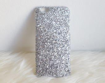 Silver Glitter iPhone Hard Case For 5/5S/SE,  6/6S, 6/6S Plus, 7 & 7 Plus