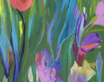 """8 X 10"""" colorful floral with calm green/teal background"""