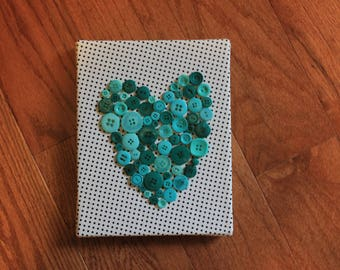 Button Heart Canvas 8x10