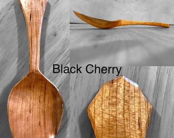 Hand Carved Black Cherry Eating Spoon