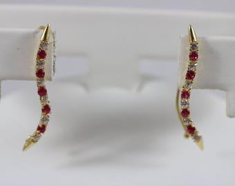 18k Yellow Gold 750 AR 2mm Round Cut Red Topaz White Rhinestone Dangle Fish Hook Back Earrings 2g