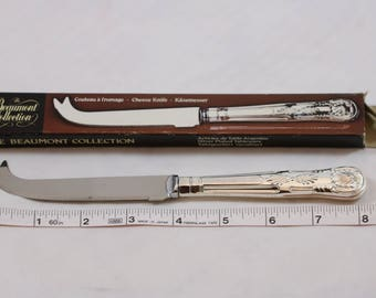"NIP Vintage Beaumont Collection Silver Plated Stainless Steel Cheese Knife Tableware 8"" O/883 Made in Sheffield England"