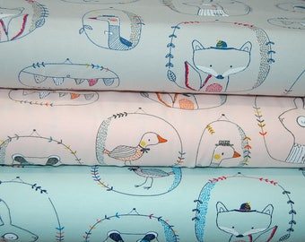 Woodland/Farm Country Gent 'Playful Animals' Creatures by Poppy Europe in Light Jersey Knit Two Way Stretch by 1/2 Metre