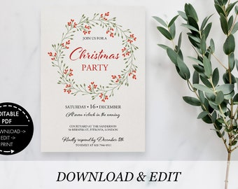 Christmas Party Invitation editable Template, Printable pdf, instant download, Christmas Invite, Christmas Template Party Invitation classic