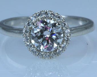 1.32 ct Round Cut D SI1 Diamond Engagement Ring 18K WHITE GOLD With ACCENTS