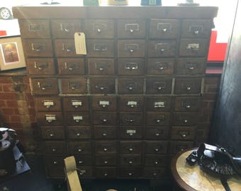 72 Drawer Vintage Library Card Catalog