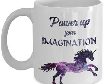 Power Up Your Imagination Magical Unicorn Mug, Custom-Designed Coffee Cup, Cool Novelty Gift for Women or Girls Who Want Some Help from