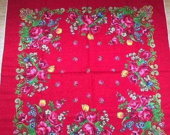 vintage wool floral scarf bright red