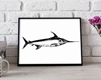 Swordfish Fish poster, Swordfish wall art, Nautical poster, Swordfish wall decor, Swordfish print, Gift poster