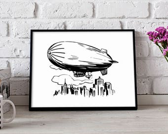 Airship Dirigible poster, Airship Dirigible wall art, Airship Dirigible wall decor, Airship Dirigiblet print, Gift poster
