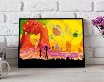 Rick and Morty Poster, Rick and Morty print, Rick and Morty art, Rick Sanchez print, Morty print, Gift poster