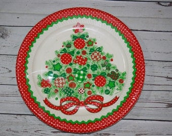 Vintage Christmas Tree Paper Plates Tree 8 9'' Plates