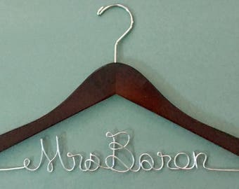 Personalized Bride Wedding Dress Hanger Choose Name, Bride, Bridesmaid or Any Personalization