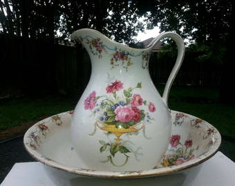 Late 1800s Wash Basin and Pitcher from England