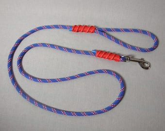 Leash 1.50 m rope blue & purple, 8 mm red whipping