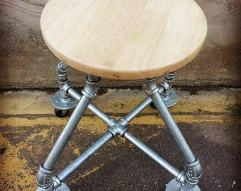 Industrial steel and wood stool