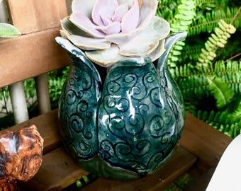 Blue Spiral Flower Pot