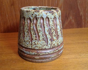 Handthrown carved stoneware mini pot