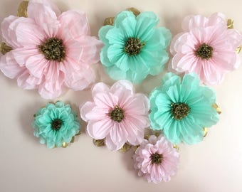 Pink mint and gold tissue paper flowers poms wall decoration 14 inches party decor
