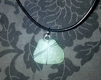 Pale blue-green sea glass necklace