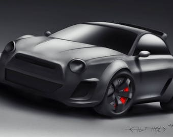 Abarth car drawing - digital car drawing