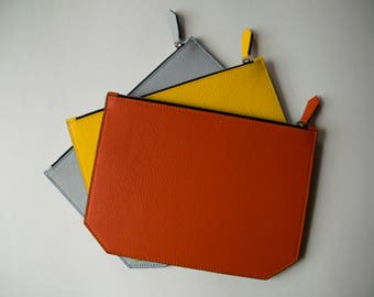 Leather zip top clutch- summer colours!